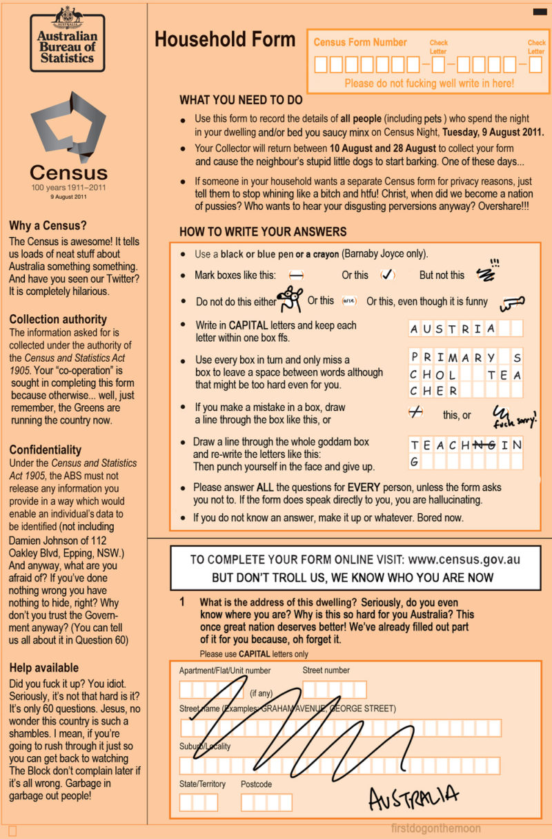 Your 2011 Census Form Explained – First Dog On The Moon