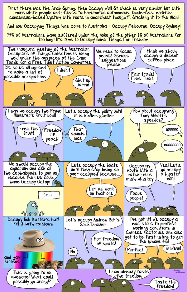 This cartoon has been occupied by Cane Toads for Freedom