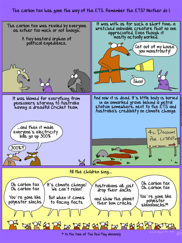 A eulogy for a Carbon Tax. Everybody sing!