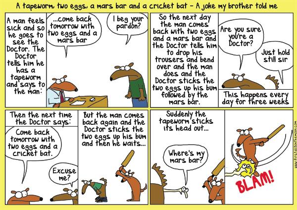 A tapeworm, two eggs, a Mars Bar and a cricketbat…