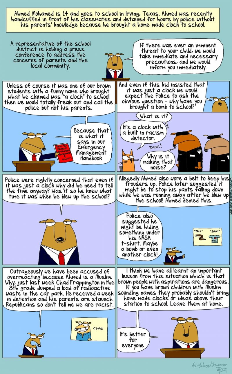 Ahmed Mohamed: it's a clock with a built-in racism detector #IStandWithAhmed   @firstdogonmoon