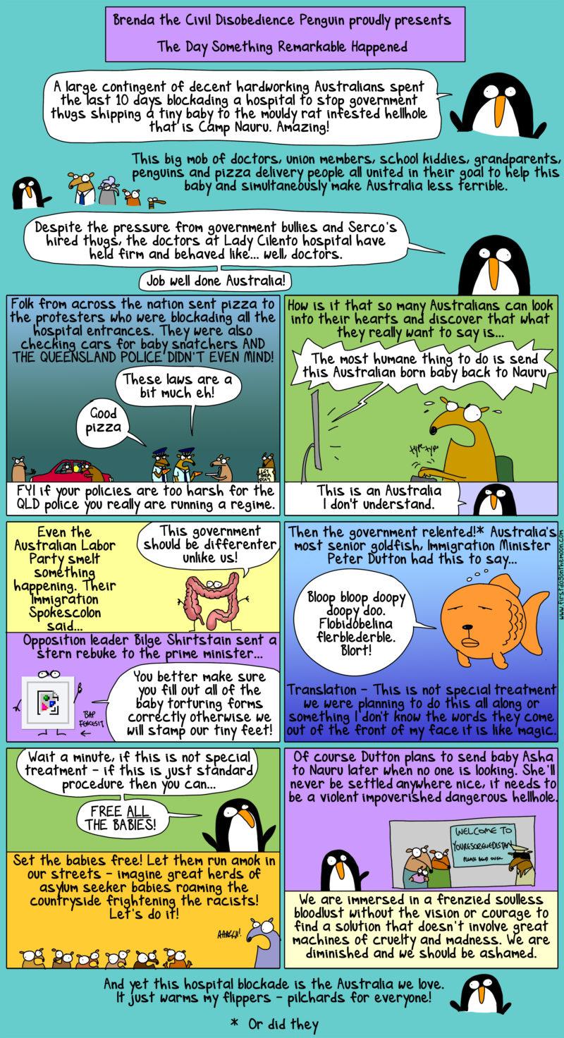 Brenda the Civil Disobedience Penguin on Baby Asha: this is the Australia we love!
