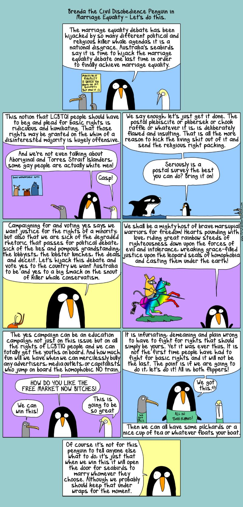 brenda on marriage equality : all in, both flippers!