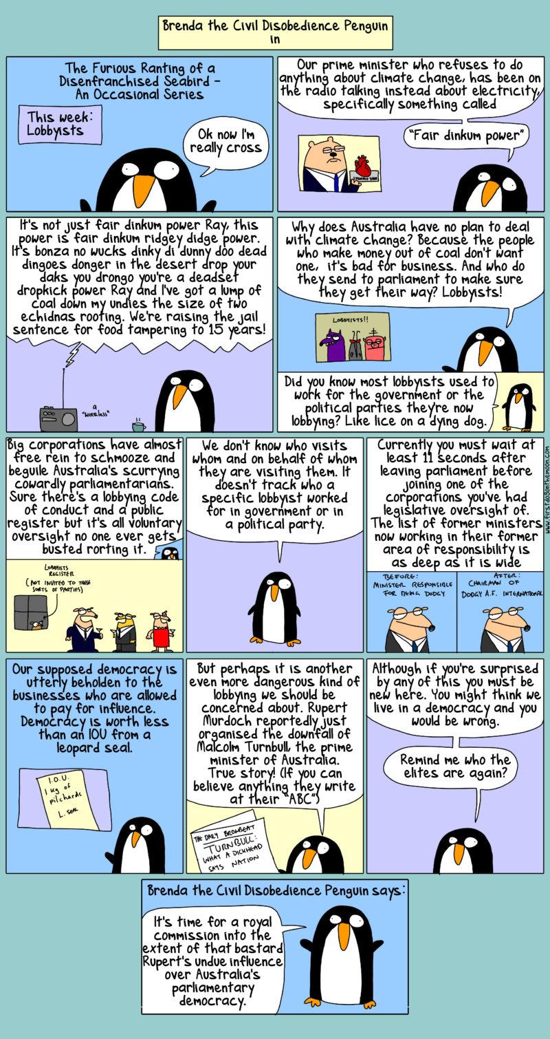 Furious rantings of a disenfranchised seabird. This week: lobbyists