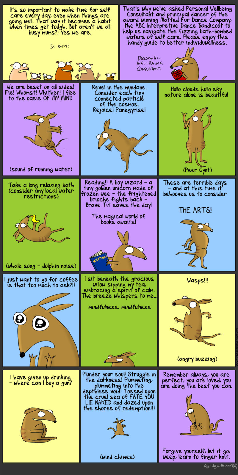 A handy guide to better individuwellness with the ABC Interpretive Dance Bandicoot